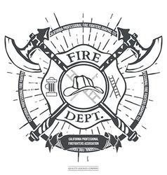 Fire Dept Label Helmet with Crossed Axes T-shirt vector image