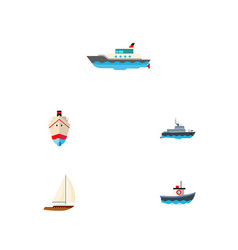 icon flat vessel set of shipping vessel sailboat vector image vector image