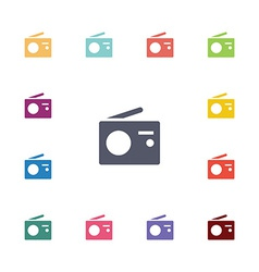 radio flat icons set vector image vector image