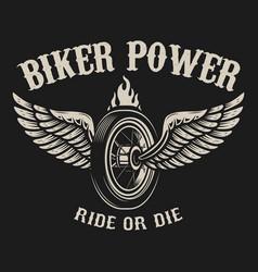 ride or die motorcycle wheel with wings vector image