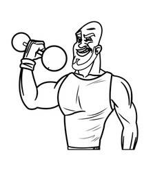 man weight lifting bodybuilding sport line vector image