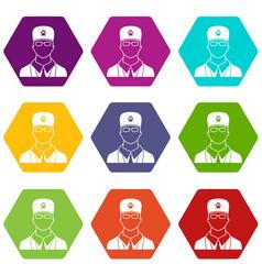veterinarian icon set color hexahedron vector image