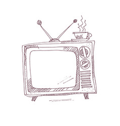 vintage tv set in sketch graphic style vector image