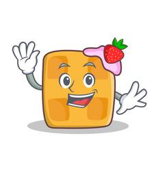 waving waffle character cartoon design vector image vector image
