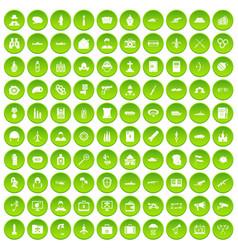 100 military icons set green circle vector