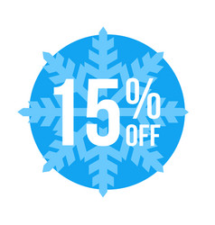 15 off sticker winter sale vector