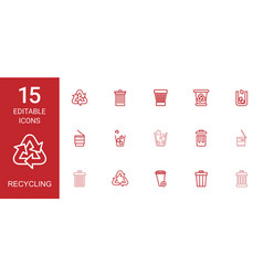 15 recycling icons vector image