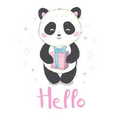 A cute cartoon giant panda is sitting on the vector