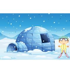 An igloo and a boy vector