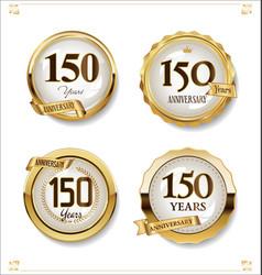 anniversary golden labels retro vintage design vector image