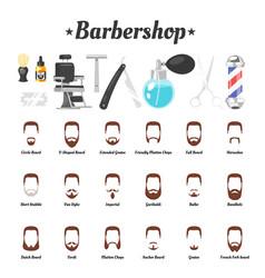 barbershop tools beards mustaches vector image