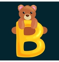 bear letter with animal for kids abc education vector image