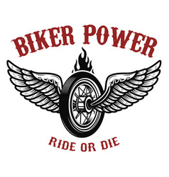 biker power wheel with wings vector image