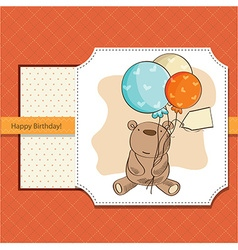 birthday card with teddy bear and balloons vector image