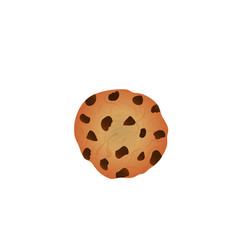 bitten chocolate chip cookie isolated on white vector image