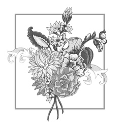 Bouquet vintage flowers with swirls vector
