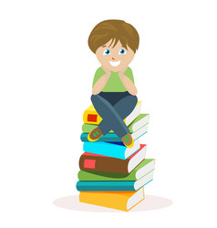 Boy sitting on a big pile of books vector