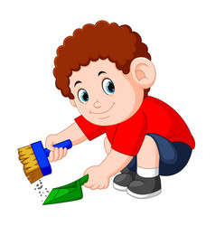 Boy with the curly hair clean up the dust vector
