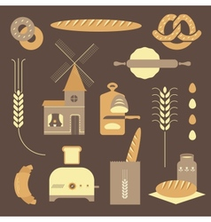 Bread icons vector image vector image