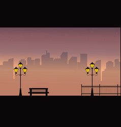 Building with street lamp scenery at night vector