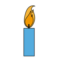 Burning candle flame light icon vector