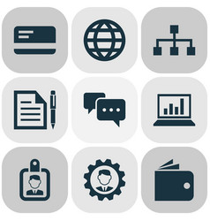 business icons set with identification structure vector image