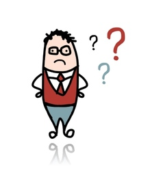 Businessman and question marks sketch for your vector