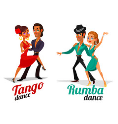 cartoon a couples dancing tango and vector image