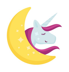 cartoon unicorn sleeping on moon icon vector image