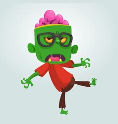 Cartoon zombie nerd with glasses vector
