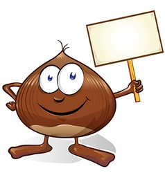 Chestnut cartoon with signboard vector