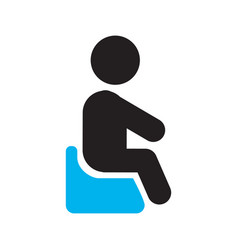 child sitting on potty chair silhouette icon vector image