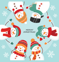 christmas card round dance snowmen vector image