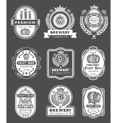 Collection retro beer emblems badges stickers vector
