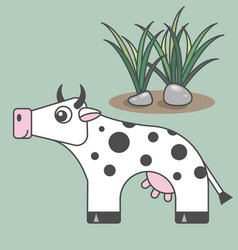 cow cartoon style art for kids vector image