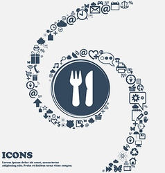 Crossed fork over knife icon in the center Around vector