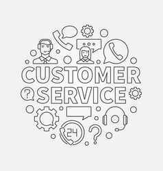 customer service round - vector image