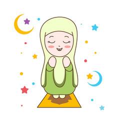 Cute muslim girl praying muslim religion vector