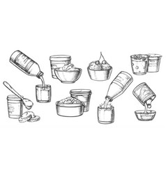dairy milk products cheese yogurt sketch icons vector image