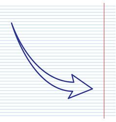 Declining arrow sign navy line icon on vector