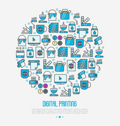 Digital printing concept in circle vector