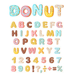 Donut icing latters font donuts bakery sweet vector