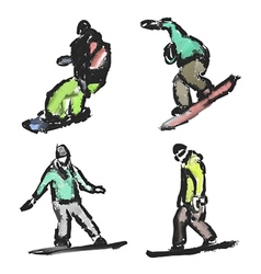 drawn snowboarders vector image