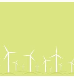 Ecological modern windmills horizontal seamless vector image
