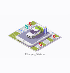 Ev charging station technology web banner vector