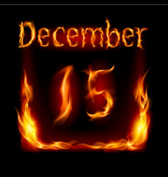 Fifteenth december in calendar of fire icon on vector