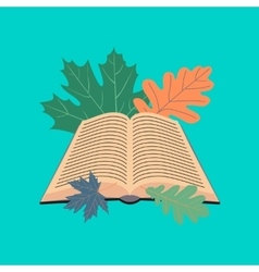 flat icon on stylish background open book leaves vector image