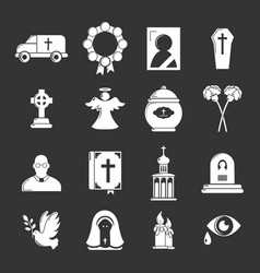 Funeral ritual service icons set grey vector