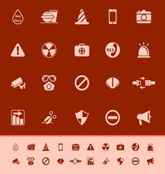 General useful color icons on red background vector