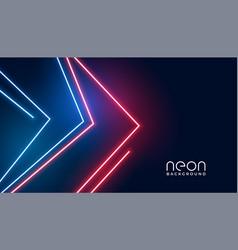 Geometric arrow style neon lights banner design vector
